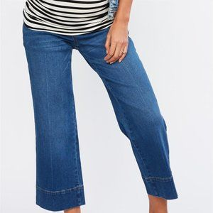 LUXE ESSENTIALS CROPPED WIDE LEG MATERNITY JEANS